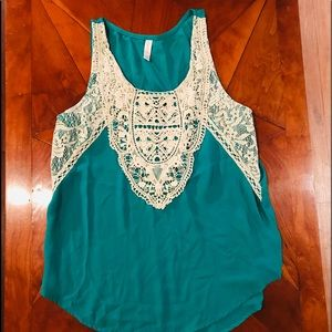Sea Green Lace Tank Top Blouse